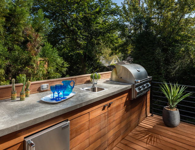 Outdoor Kitchen With Concrete Countertops Contemporary Deck