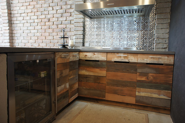 Outdoor Kitchen With Polished Concrete Bench Tops And