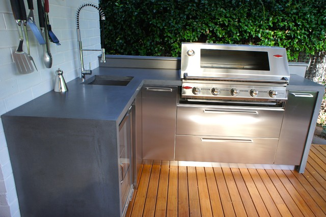 outdoor kitchens with polished concrete benchtops