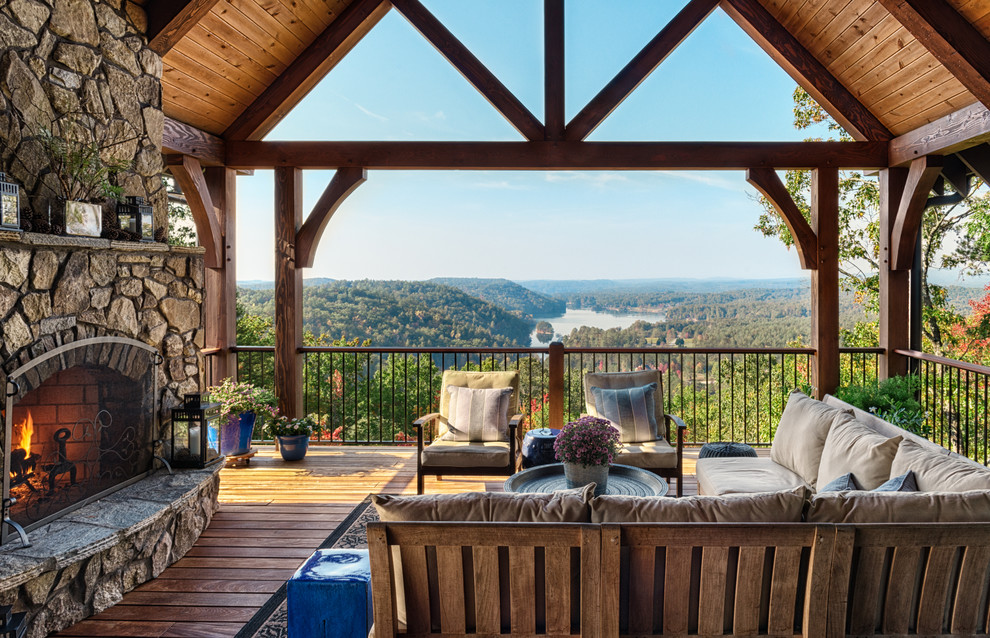 Example of a mountain style deck design in Other