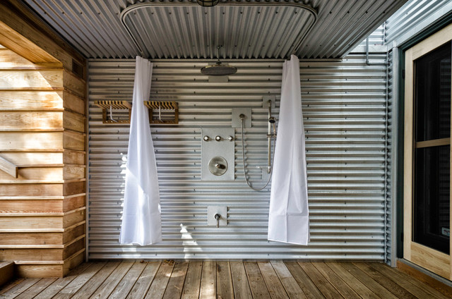 Outdoor Shower Industrial Patio Toronto By Ed