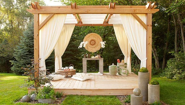 Outdoor spaces asian deck other metro by lowe 39 s for How to build an outdoor yoga platform