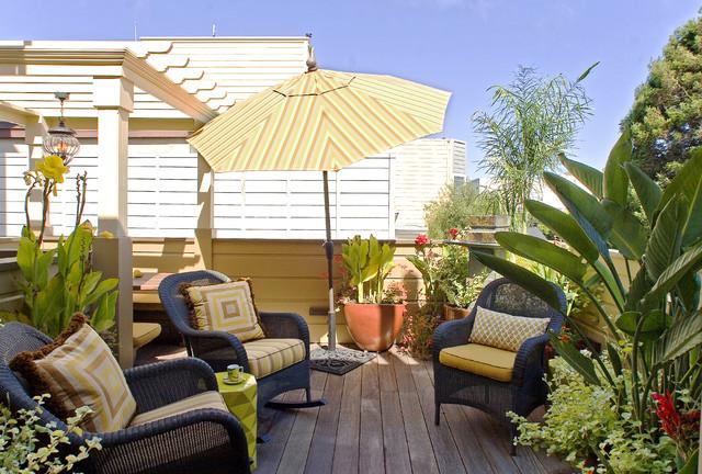Idee per terrazze e balconi vittoriani sul tetto con una pergola