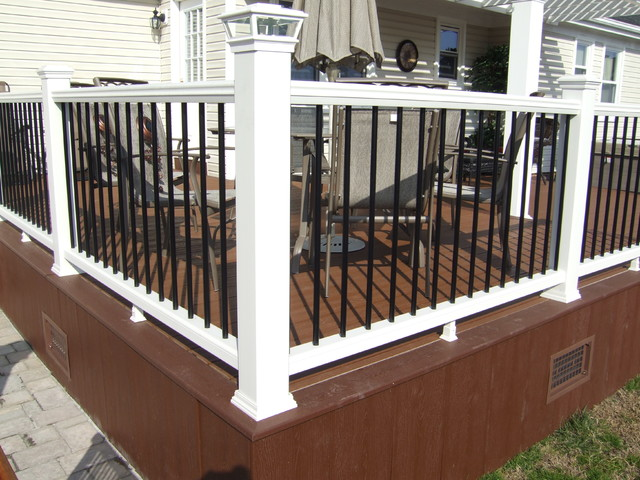 Pergola trex deck custom railings traditional porch for Composite deck railing