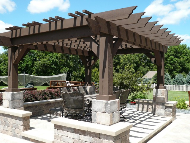 pergolas and pavers mediterranean deck chicago by. Black Bedroom Furniture Sets. Home Design Ideas