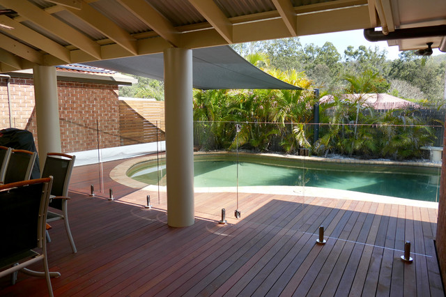 Pool Deck With Glass Pool Fence Tropical Deck Brisbane By Uds Projects Houzz Au