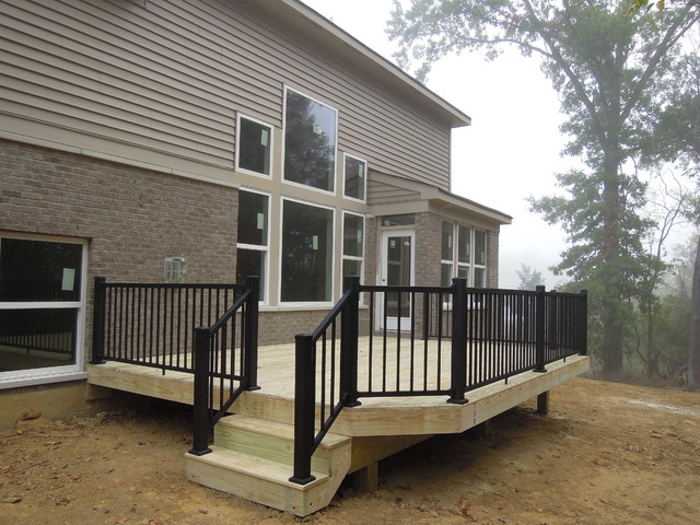 Pressure treated deck w aluminum railing milford oh area for Pressure treated decking