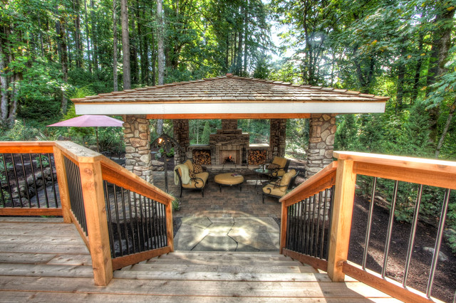 Private paradise portland landscaping rustic deck for Rustic covered decks