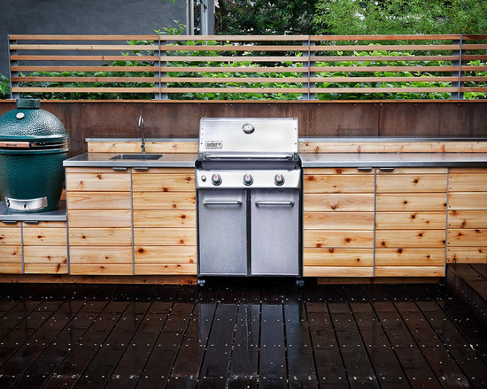 Outdoor Kitchen With Green Egg Grill Home Design Ideas, Pictures, Remodel and Decor
