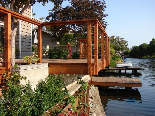 Redwood Boat Dock and Deck Cantilever over Lagoon
