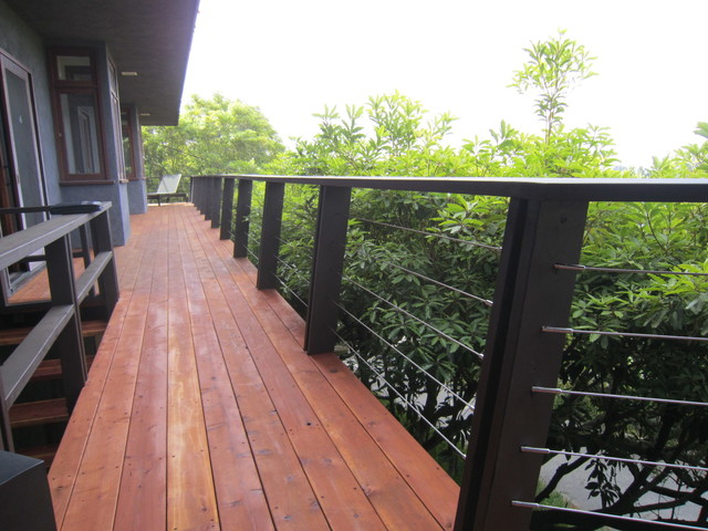 Redwood Cable Railing Pacific Palisades Wood Deck