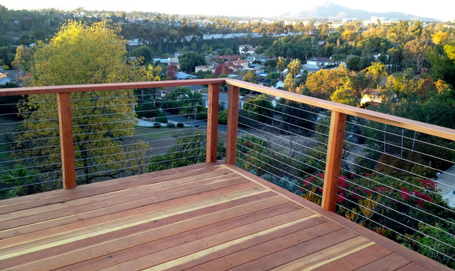 Redwood Deck and Cable Railing - Modern - Home Fencing And Gates - other metro - by San Diego ...