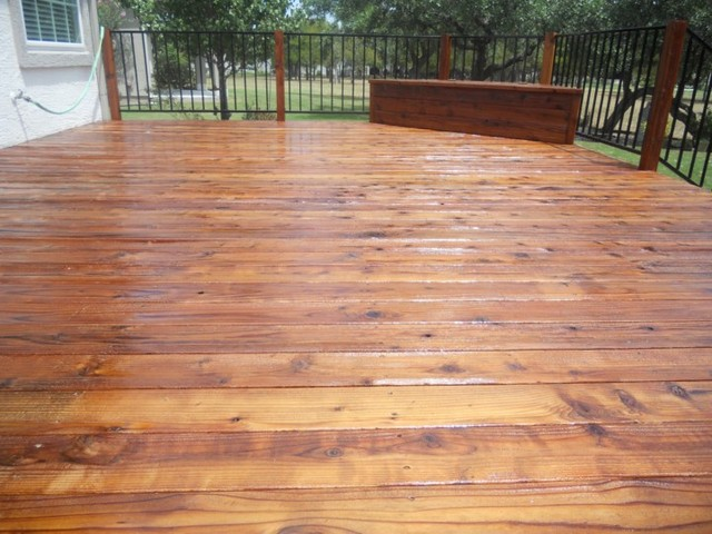 Redwood deck refinish restoration staining traditional deck austin by petrich painting for Exterior polyurethane for decks