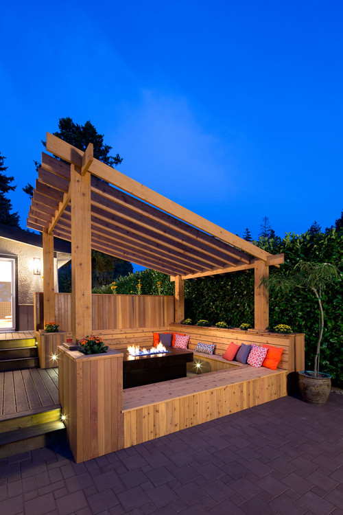 Love this pergola especially the slanted roof for Pergola images houzz