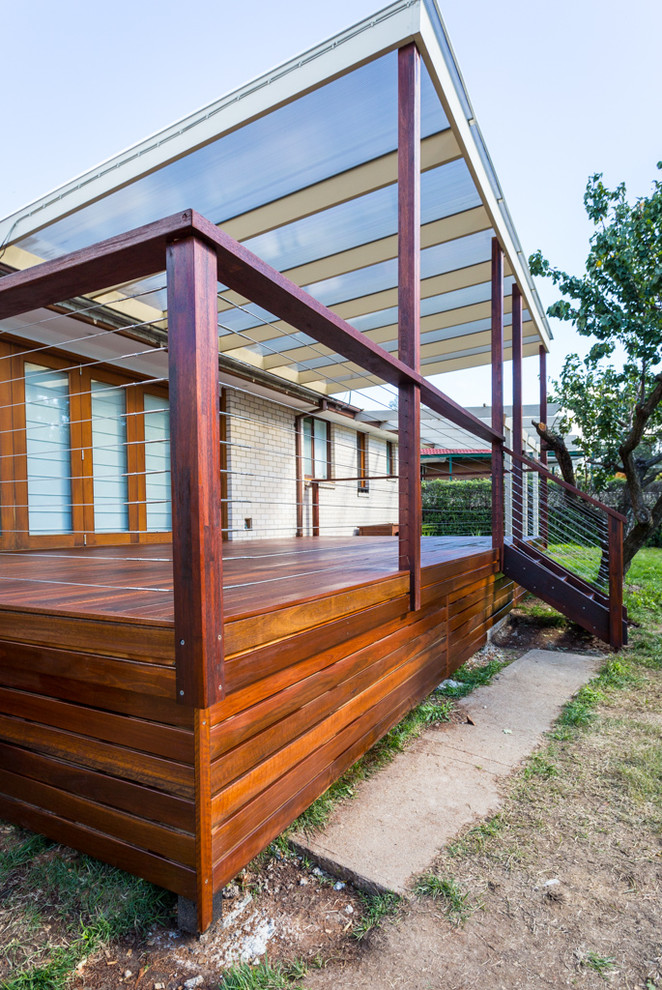 Inspiration for a contemporary deck in Canberra - Queanbeyan with a pergola.