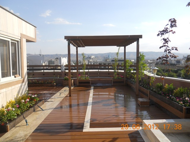 roof bbq space with pergola modern terrace other