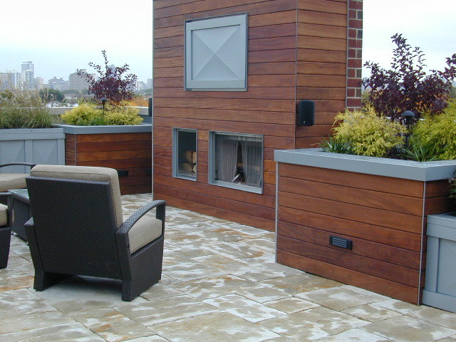 Roof Top Patio with Cumaru Rainscreen Walls contemporary-deck