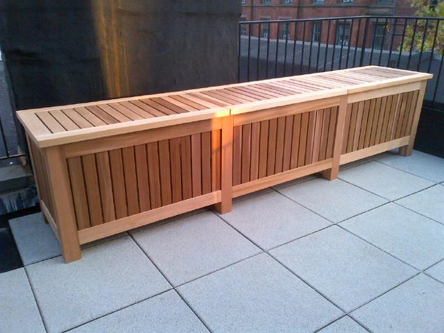Rooftop storage/outdoor table rustic-deck