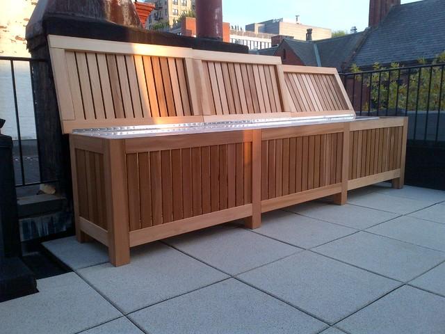 Rooftop Storage Outdoor Table Rustic Deck New York