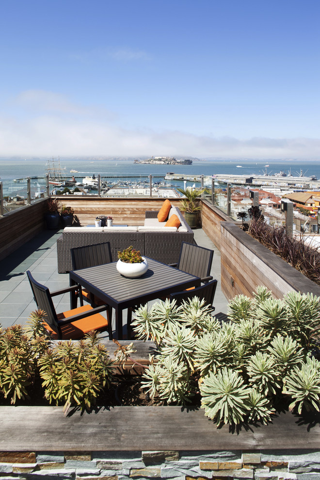 Inspiration for a contemporary rooftop rooftop deck container garden remodel in San Francisco with no cover