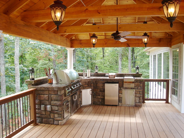 rustic outdoor entertaining spacce rustic deck other