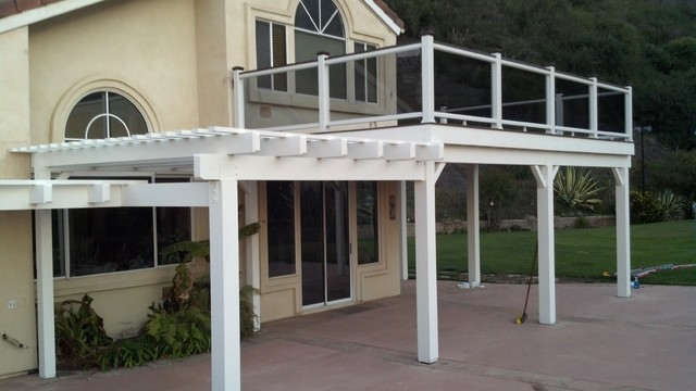 Photos in San Clemente Patio Cover and Balcony with smoked glass Railings & San Clemente Patio Cover and Balcony with smoked glass Railings