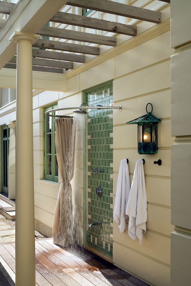 Inspiration for a coastal outdoor shower deck remodel in New York with a pergola