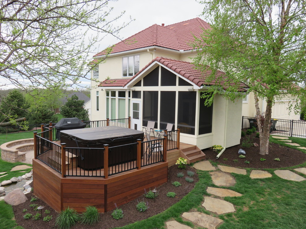 Shawnee Ks Screened Porch With Ipe Deck And Hardscape