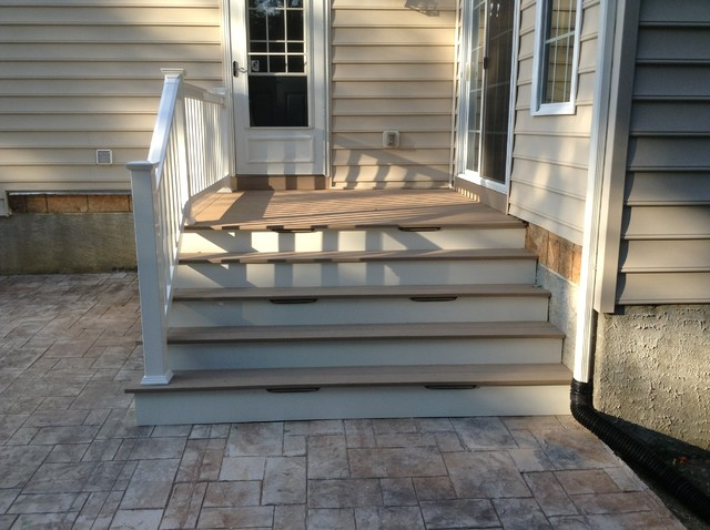 stamped concrete patio with stairs. Modren Patio Small 8u0027x8u0027 Deck With Enlarged Stairs Down To Stamped Concrete Patio Modern For With Stairs T