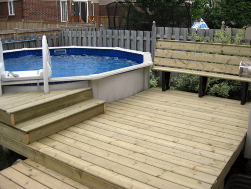 Small deck surround for above ground pool for Basic deck building instructions
