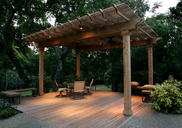 Southwest Fence & Deck Arbor - Eclectic - Outdoor Lighting ...
