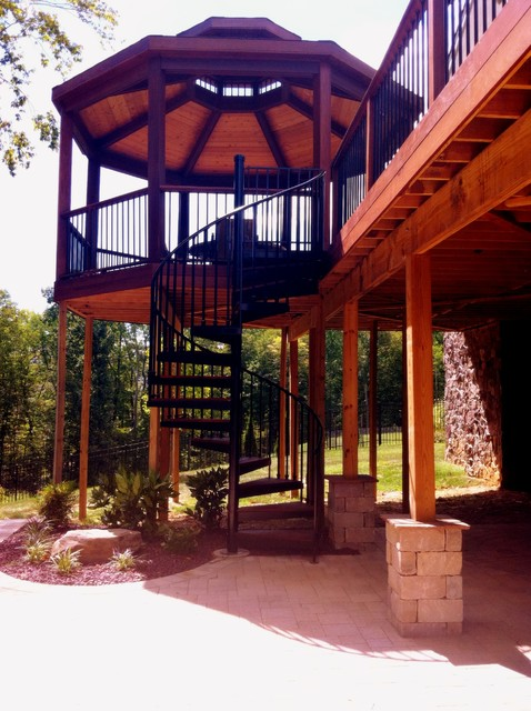 spiral stairs and second story ipe deck contemporary deck baltimore by