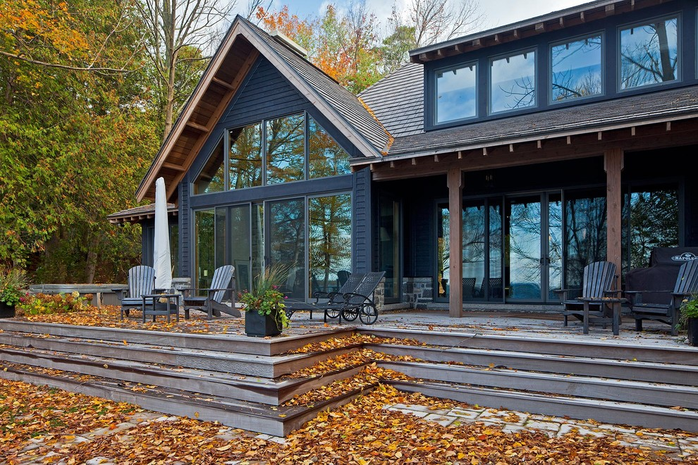 Example of a mountain style deck design in Toronto with no cover