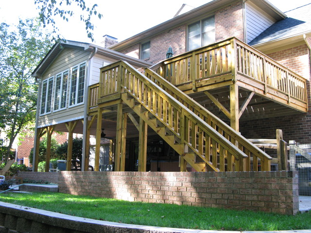 Sunroom deck addition transitional deck charlotte for Building a sunroom on a deck