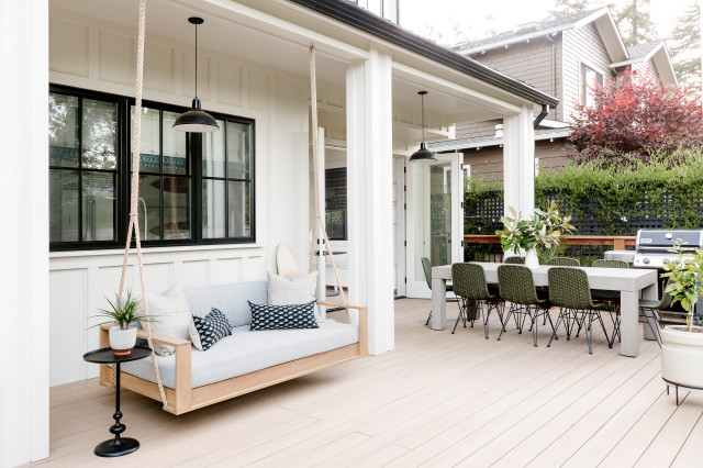 deck with swinging chair bench
