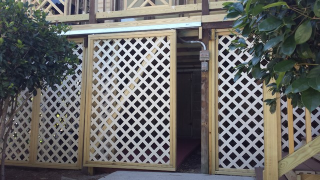 Take a Look at this Sliding Lattice Door for Under Deck Storage traditional- deck & Take a Look at this Sliding Lattice Door for Under Deck Storage
