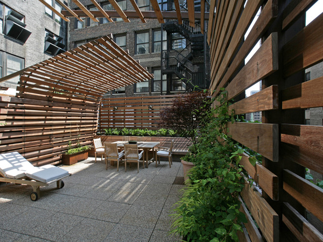 Tank rooftop exterior views modern patio new york by lynn gaffney architect pllc - Pergola climbing plants under natures roof ...