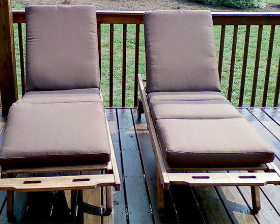 "Chaise and Steamer Lounge Cushions - Customer Photo: ""We have two teak lounge chairs with Sunbrella cusions. They look great and are very comfortable."""