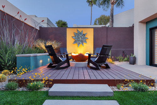 deck designs with fire pits