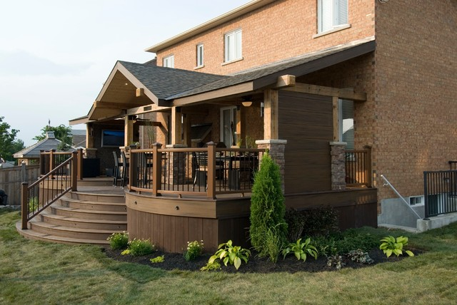 the tv deck rustic deck toronto by paul lafrance