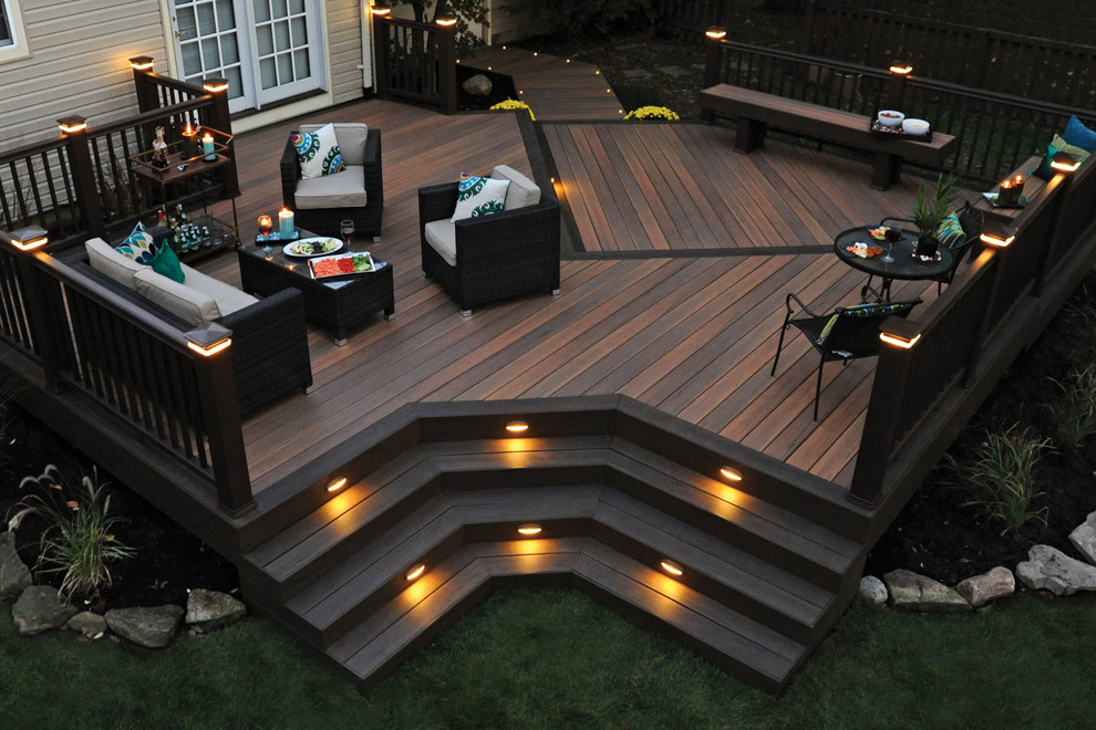 Large trendy backyard deck photo in New York