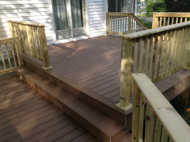 Timbertech terrain deck brown oak with pressure treated for Pressure treated decking
