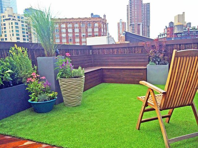 TriBeCa Rooftop Garden   Bamboo Fence, Artificial Turf, Cedar Bench,  Planters Contemporary