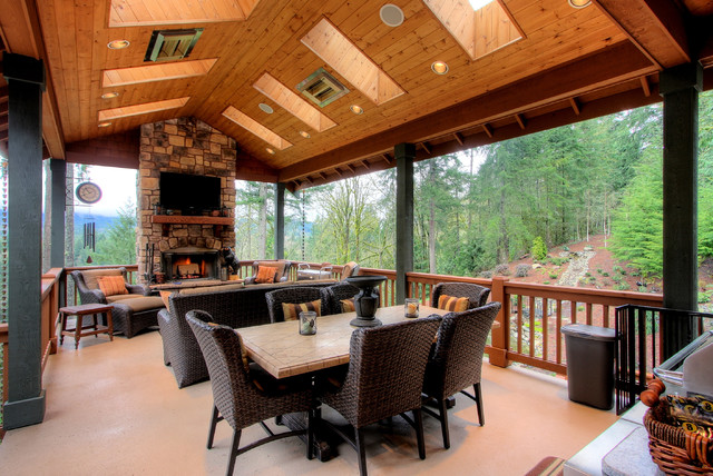 Two Level Covered Deck Rustic Seattle By
