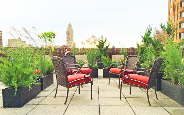 Upper East Side NYC Roof Deck Wicker Furniture