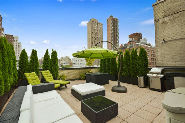 Hue Outdoor Lights picture on Upper East Side Roof Garden Evergreens and Outdoor Wicker Furniture Umbrella contemporary deck new york with Hue Outdoor Lights, Outdoor Lighting ideas d77e3d3610e7b872ea34964e65bcb667