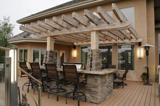 Upper level pergola and built in BBQ with island - Modern - Deck - edmonton - by Bold Design Inc