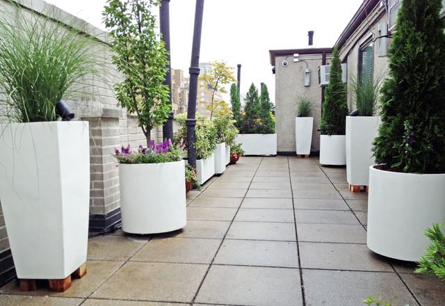 Upper West Side Roof Garden White Planters Terrace Deck