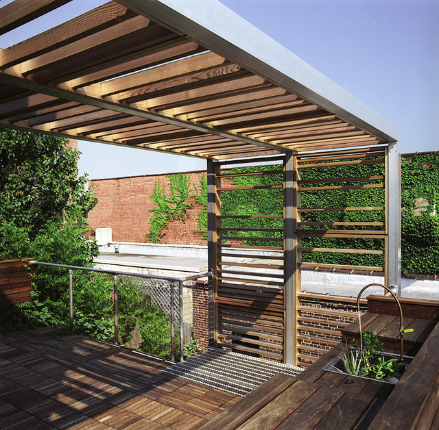 Urban trellis roof deck modern deck new york by for Contemporary garden trellis designs