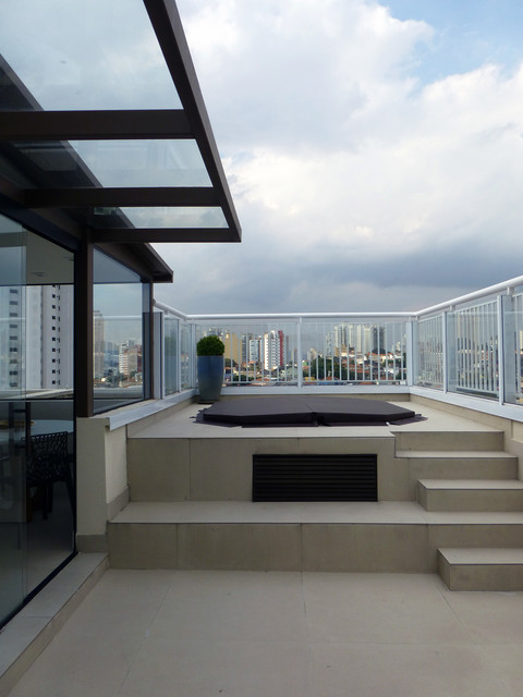 Deck - large contemporary rooftop deck idea in Other
